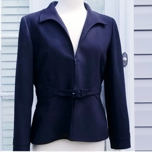 Valentino Jackets & Blazers - Valentino Navy Blue Tailored Belted Jacket Sz 12